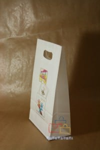 Bolsas de papel impresas asa troquelada blanca