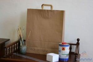 Bolsas de papel impresas composición pinceles