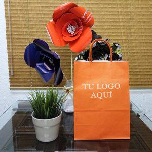 bolsas de papel naranja oferta