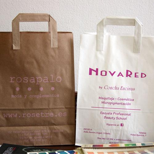 tienda bolsas de papel asa plana exterior