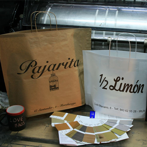 tienda bolsas de papel sin fuelles laterales