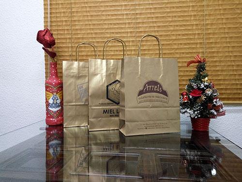 Bolsas para Navidad Oro Brillo